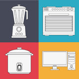 Appliances and supplies for home. Blender cooker computer stove appliances supplies electronic home icon. Colorful and silhouette design. Vector illustration Royalty Free Stock Images