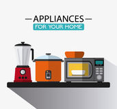 Appliances and supplies for home. Blender cooker microwave bowl appliances supplies electronic home icon. Colorful and flat design. Vector illustration Stock Photo