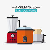 Appliances and supplies for home. Blender cooker toaster appliances supplies electronic home icon. Colorful and flat design. Vector illustration Royalty Free Stock Images