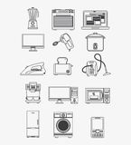 Appliances and supplies for home. Blender stove laptop computer mixer cooker iron toaster vacuum coffee machine computer microwave fridge washer cellphone Royalty Free Stock Images