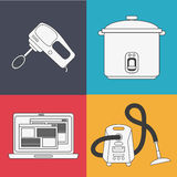 Appliances and supplies for home. Mixer cooker laptop vacuum appliances supplies electronic home icon. Colorful and silhouette design. Vector illustration Royalty Free Stock Photos