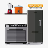 Appliances and supplies for home. Stove blender cooker fridge appliances supplies electronic home icon. Colorful and flat design. Vector illustration Stock Photo