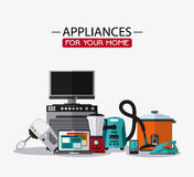 Appliances and supplies for home. Vacuum cooker cellphone iron blender stove tv mixer appliances supplies electronic home icon. Colorful and flat design. Vector Stock Photography