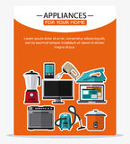 Appliances and supplies for home. Vacuum cooker cellphone iron blender stove tv mixer appliances supplies electronic home icon. Colorful and flat design. Vector Stock Photos