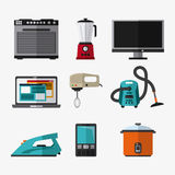 Appliances and supplies for home. Vacuum cooker tv cellphone mixer blender iron laptop stove appliances supplies electronic home icon. Colorful and flat design Royalty Free Stock Image