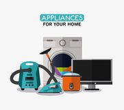 Appliances and supplies for home. Vacuum iron cooker tv washer cloth appliances supplies electronic home icon. Colorful and flat design. Vector illustration Stock Photo