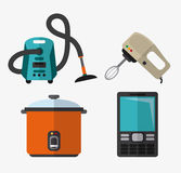Appliances and supplies for home. Vacuum mixer cooker cellphone appliances supplies electronic home icon. Colorful and flat design. Vector illustration Royalty Free Stock Photography