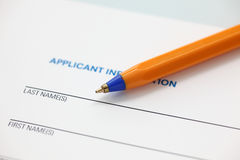 Applicant information Royalty Free Stock Image