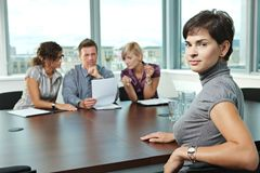 Applicant at job interview royalty free stock photos