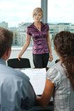 Applicant during job interview Royalty Free Stock Photos