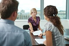 Applicant during job interview Royalty Free Stock Photography