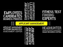 APPLICANT MANAGEMENT - image with words associated with the topic RECRUITING, word, image, illustration Stock Image