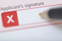 Applicant's signature Stock Photo