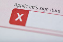 Applicant's signature Royalty Free Stock Image
