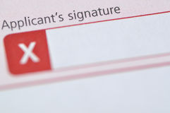 Applicant's signature Royalty Free Stock Photography
