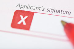 Applicant's signature. Contract or application form ready for signature Royalty Free Stock Photos