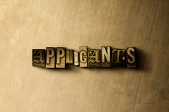 APPLICANTS - close-up of grungy vintage typeset word on metal backdrop Stock Photography