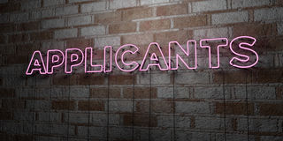 APPLICANTS - Glowing Neon Sign on stonework wall - 3D rendered royalty free stock illustration Royalty Free Stock Images