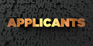 Applicants - Gold text on black background - 3D rendered royalty free stock picture Royalty Free Stock Images