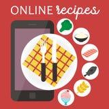 Application à cuire en ligne de recettes Illustration plate du vecteur APP Images libres de droits
