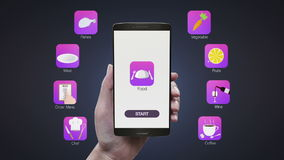 Application émouvante de nourriture sur l'écran mobile, utilisant le chef, menu d'ordre, viande, poissons, légume, fruit, vin, ca illustration libre de droits