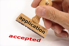 Application accepted stock image
