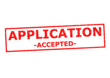 APPLICATION ACCEPTED. Red Rubber Stamp over a white background royalty free stock photos