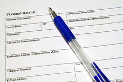 Application And Personal Details Form Royalty Free Stock Photos