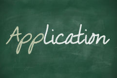 Application app written on a chalkboard Stock Image