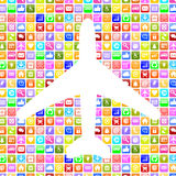 Application Apps App airplane booking flight and holidays online Royalty Free Stock Photos
