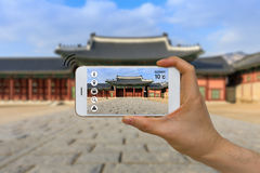 Application of Artificial Intelligence, AI, and Augmented Reality, AR, in Traveling and Tourism Business Concept royalty free stock photo