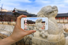 Application of Artificial Intelligence, AI, and Augmented Reality, AR, in Traveling and Tourism Business Concept stock image