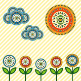 Application assembled from bright abstract circles. Summer background. Stock Photos