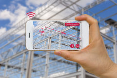 Application of Augmented Reality in Construction Industry Concept Measuring Dimension of Steel Structure. Augmented reality in construction industry concept stock images