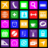 Application colorful icons on black background. Se Stock Photo