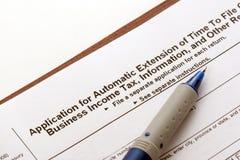 Application d'extension d'impôts photo stock