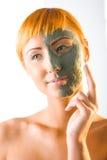 application de la femme verte de masque photographie stock libre de droits