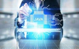 Application de langage de programmation de Java et concept de d?veloppement de Web sur l'?cran virtuel photos libres de droits