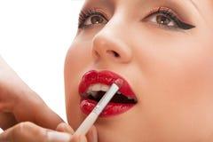 Application de maquillage. Application d'artiste de maquillage photo stock
