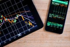 Application de marché boursier Images stock