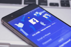 Application de mobile de Facebook Images libres de droits