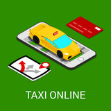Application de mobile de service de taxi Voiture isométrique Images stock