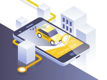 Application de mobile de service de taxi Ville et voiture isométriques au téléphone intelligent Dirigez l'application Illustratio Photos stock