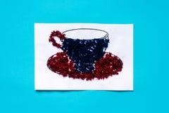 Application de Noël 3D des fils de laine avec la tasse et soucoupe Projets d'application sentis créatifs pour des enfants Amuseme photos libres de droits