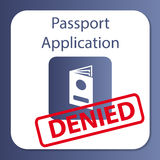 Application de passeport niée Photos libres de droits