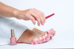 Application de pedicure de pied Photo stock