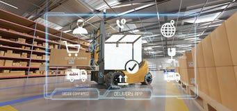 Application de service de distribution logistique sur un fond d'entrepôt illustration libre de droits