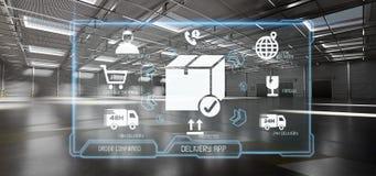 Application de service de distribution logistique sur un fond d'entrepôt illustration de vecteur