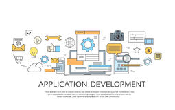Application Development Create Design Site Programming Coding Set Icon Collection. Vector Illustration Stock Photo