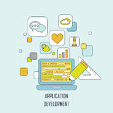 Application development in flat thin line style Stock Photo